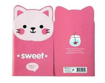 Sweet cat journal pink