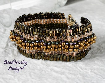 Take the Rocky Road Bracelet - beadwoven, embellished peyote bracelet cuff