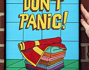 Don't Panic- Paper Tile Mosaic- Small- Original artwork- Unique- Hitchhikers Guide to The Galaxy- Zaphod Beeblebrox- Arthur Dent- Towel art