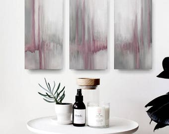 set of 3, Contemporary Wall Art, Modern Art, mint and  blush pink ,  oil painting , canvas art, Abstract set of 3, pastel colours