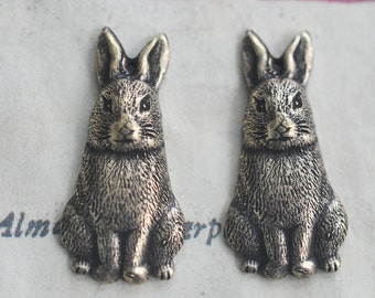 TWO Bunny Brass Charms, Brass Ox, Brass Stampings, Jewelry Supplies Made in the USA