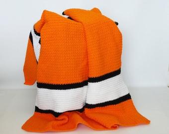 Crochet Afghan Stadium Sports Blanket Throw Orange Black White -  Home Decor, Couch Sofa Throw, Bedspread, Bedding, Adult Afghan, Lap Afghan