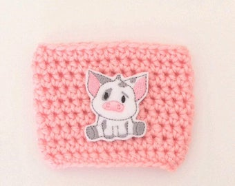 Pua spotted pig Moana Inspired Character Coffee Sleeve Drink Crochet Cozy Cozies