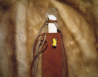 Rust Leather Sheath and Bone Knife with Bead for Child