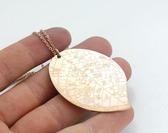 Long Rose Gold Layer Necklace - Leaf Necklace - Rose Gold Plated - Long Layer Necklace - Stainless Steel - Boho Necklace
