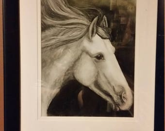 Black and white pastel of a horse