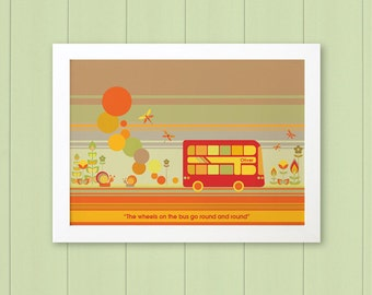 RED BUS - Children's / kid's / baby's personalised framed picture - Children's wall art - Baby's bedroom wall art - Child's gift