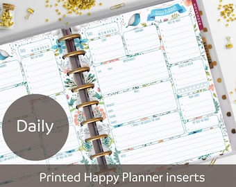 PRINTED Daily Classic Happy Planner Inserts, Daily Planner Refill, Printed & Punched, Daily Schedule, Day Organizer, Blue, Discbound planner