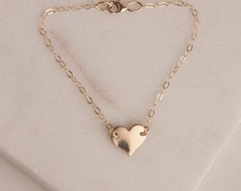 Initial Heart Bracelet in Sterling Silver or Gold Fill, Heart Charm Bracelet, Suspended Heart Bracelet, Personalized Heart Bracelet