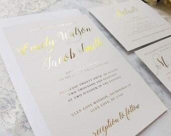 50 Gold foil wedding invitations, gold foil details card, gold foil wedding invite, gold foil RSVP, simple elegant invitation, gold foil set