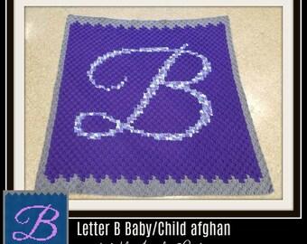 Letter B C2C Graph, Letter B Baby Afghan, Baby Shower Gift, Corner to Corner, Crochet Pattern, 3 colors