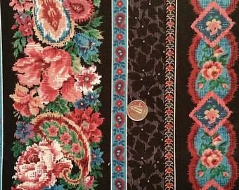 BK001 ~ Black fabric Floral stripes Pink roses Blue stripes Cranston Print Works fabric 8 feet
