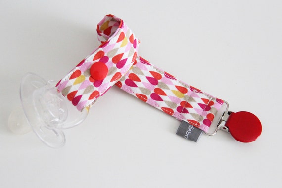 Pacifier clip - snap - enamel clip - drops - pink - yellow - red - cotton fabric - baby - baby girl - baby gift - baby shower - dummy