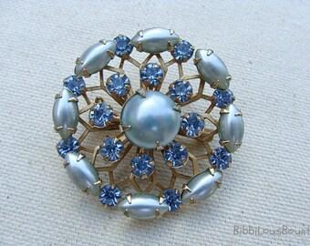 Vintage Brooch Baby Blue Rhinestones