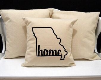 Missouri Home Pillow, Missouri Pillow, home pillow, pillow gift, Missouri gift, Envelope Pillow Cover, state pillow, MO pillow, 20x20 pillow