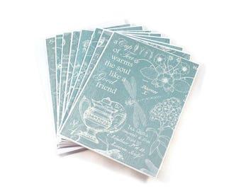Blank Note Card Set, Blue Toile, Tea Party Theme, Note Card Set, Tea Pot, Friendship Cards, Blank Note Cards, Blank Card Set, Stationery Set