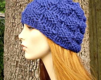Knit Hat Blue Mens Hat Blue Womens Hat - Basket Weave Beanie in Cobalt Blue Knit Hat - Blue Hat Blue Beanie Womens Accessories Winter Hat