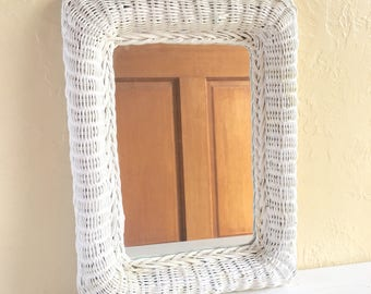 White Wicker Framed Mirror Wall Hanging Rectangle Frame Rectangular - Can hang either direction