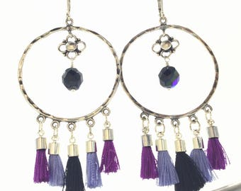 Bold silver and purple fringe hoop earrings, gift, one of a kind