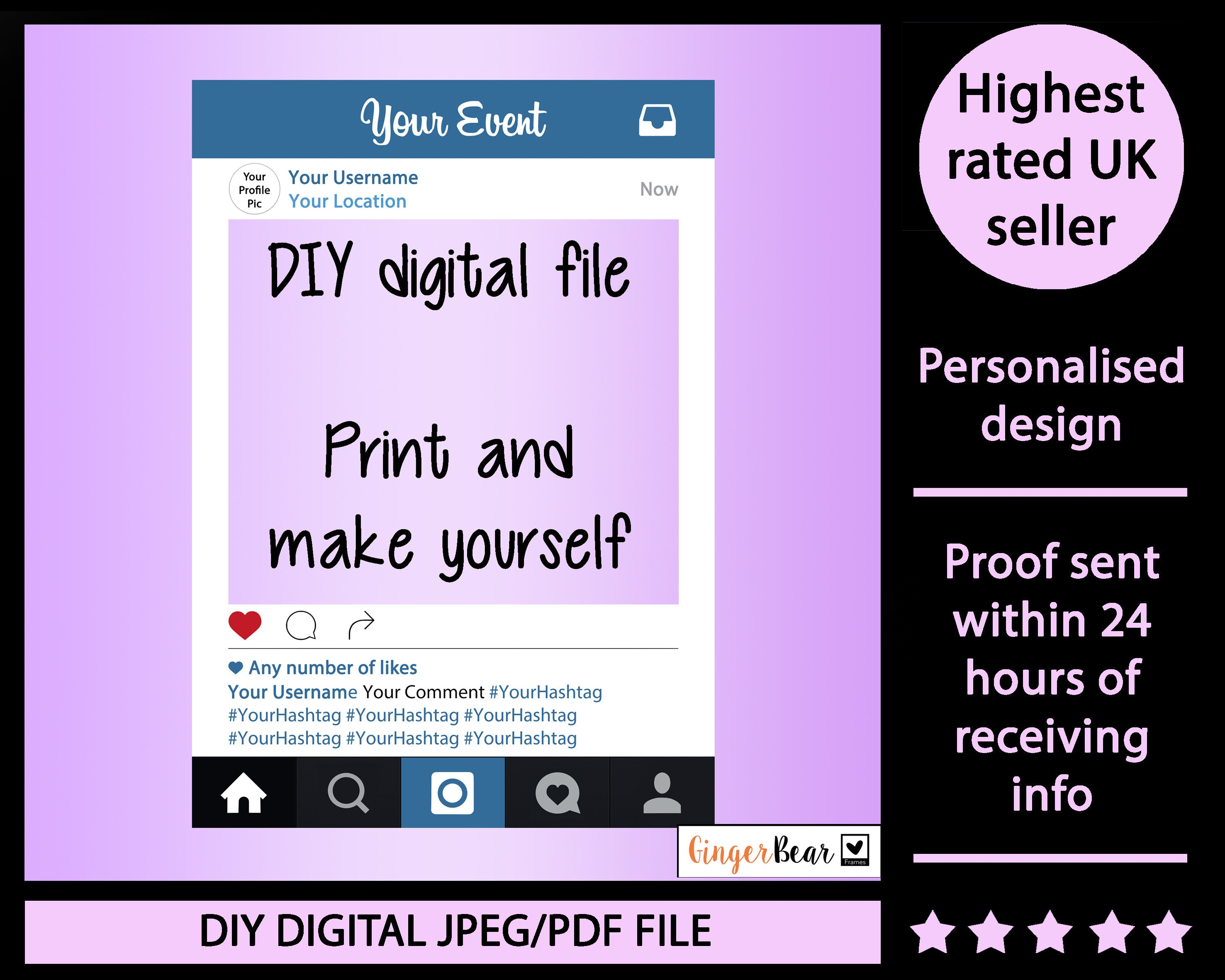 Digital file personalised instaframe photobooth prop frame zoom solutioingenieria Gallery