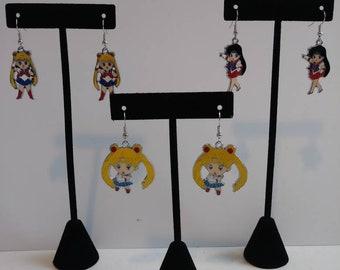 Sailor moon earrings-Sailor Moon Jewelry-Anime Earrings-Anime Jewelry-Japanime Earrings-Japanime Jewelry-Japanimation Earrings