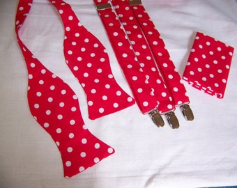 Red Bow Tie - MENS SUSPENDERS SET - Suspenders, Pocket Square & Bow Tie  - Bright Red with White Polka Dots
