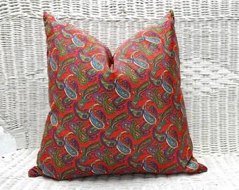 Red Bohemian Pillows, Bohemian Pillow, Paisley Pillow, Silky Red Pillow, Red Blue Pillows, Vintage, Boho Decor, 20x20, Cushion Covers