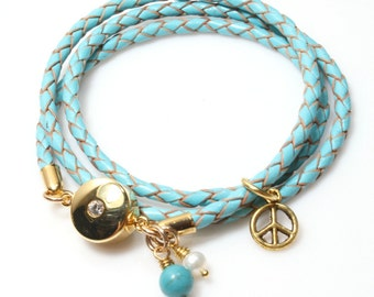 Turquoise Leather Bracelet with Gemstone Drops / Womens Leather Bracelet / Womens Turquoise Blue Triple Wrap / Kim