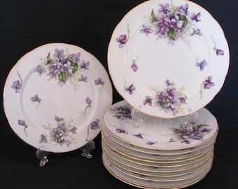 Spring Violets Bread & Butter or Snack Plate Rossetti Lot of 12 Occupied Japan