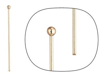 100pcs 20ga 16k gold-finished ball pin 1.5inch with 2mm ball
