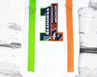 Baby boy House Divided Football Denver Broncos Seattle Seahawks themed first birthday cake smash outfit Baby boy first birthday broncos