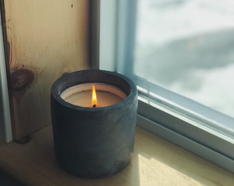 12oz All-Natural Soy Wax Unscented Candle, Handcrafted Concrete