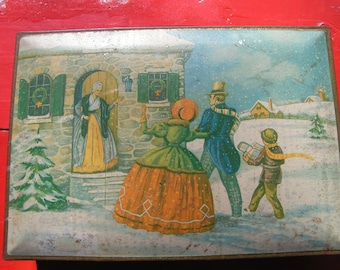 Large 1930s National Biscuit Company Tin Box  -  Awesome picture of 1800s Family delivering  Christmas presents