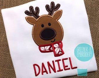 Reindeer Shirt / Reindeer Applique Shirt / Reindeer Applique / Reindeer with Scarf / Christmas Shirt / Toddler Christmas Shirt