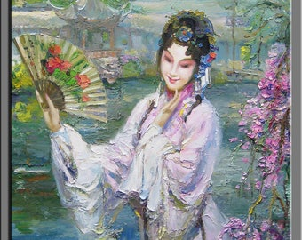 painting,oil painting,impasto,heavy texture, palette knife painting a woman of Chinese opera-0R227