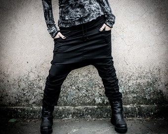 KOGEKI - Black Drop Crotch Pants, cyberpunk Loose Ninja Urban warrior Pants, Capri Low Crotch Pants, Alternative Clothing Harem Trousers