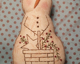 PATTERN for Primitive Stitchery Snowman Doll Basket Of Greenery
