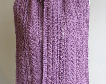 Lavender Pure Wool Hand Knitted Cable & Eyelet Scarf - 'Nadia'.