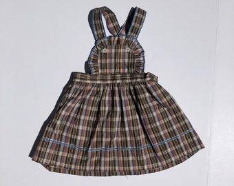 1950's Brown Plaid Ric Rac Jumper Dress (2t)