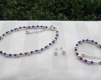 Flower Girl Jewelry White Swarovski Pearls and Cobalt Blue Crystals Bridal Jewelry Set