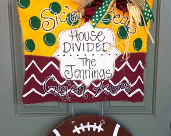 House divided burlap door hanger