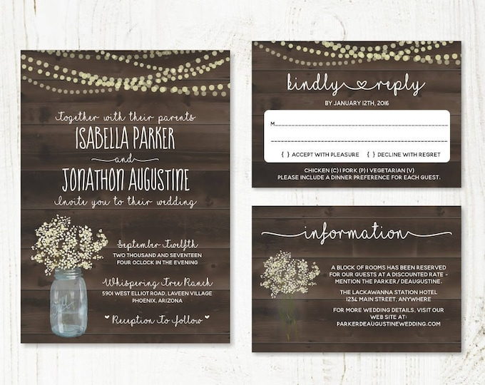Featured listing image: Wedding Invitation Template - Rustic Baby's Breath, Mason Jar, Fairy Lights & Wood Printable Set | PDF Instant Download Digital File Suite