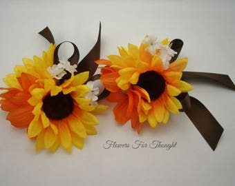 Sunflower Corsage, Wedding, Prom, Homecoming, Special Occasion Flowers