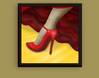 8 X 8 Metallic Photo Print - Dancing - Digital Painting - The Curious Concepts Series