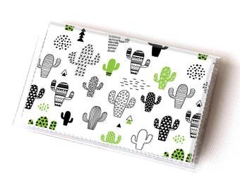 Vinyl Card Holder - Cactus / green, cacti, succulents, plants, card case, vinyl wallet, women's, small wallet, pretty, gift, cute, summer