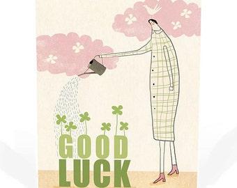 grow your luck postcard -  positive greeting card - Illustration - good luck card - woman - four leaf clovers  - gardening - nature - bird