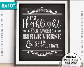 """Highlight Your Favorite Bible Verse and Sign Your Name Wedding Sign, Sign our Bible, 8x10"""" Chalkboard Style Printable Instant Download Sign"""