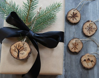 Rustic Wood-Burned Gift Tags & Ornaments