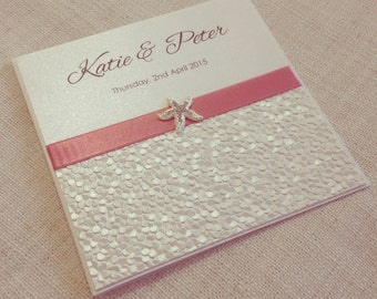Beach destination wedding invitation - SAMPLE - metallic pebble paper & shell or starfish - elegant beach wedding invitations
