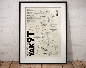 Yak-9T USSR Airplane Aviation A3 Poster